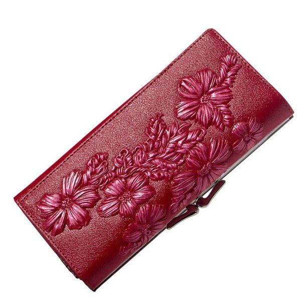 good quality Floral Embossed Leather Wallet Women Long Design Genuine Leather Lady Clutches Card Holder Hasp Purse Female