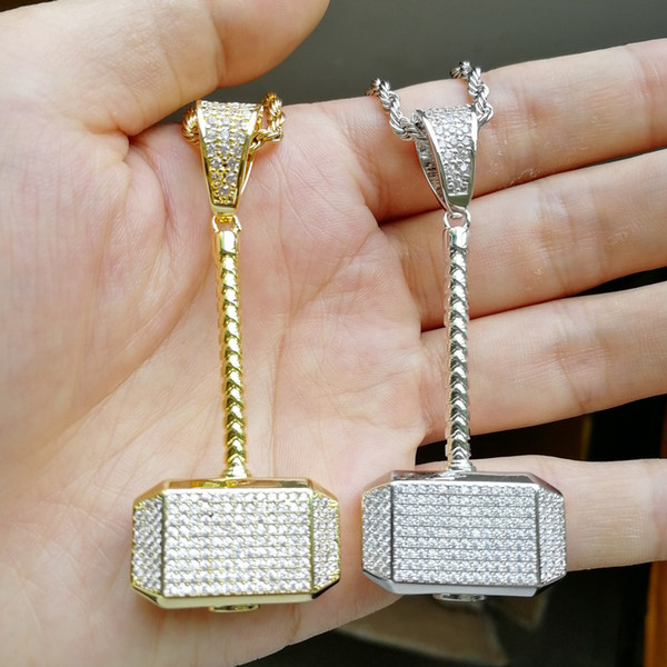 Hip Hop Micro Paved CZ Stone Bling Ice Out Thor Hammer Quake Pendants Necklace for Men Rapper Jewelry Gold Silver