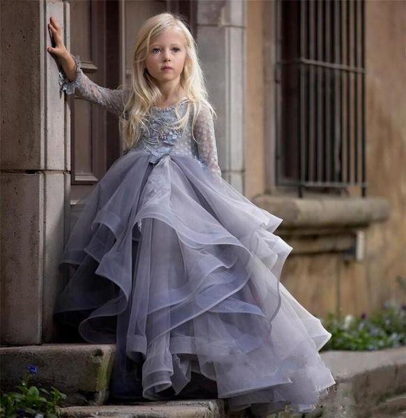 2019 сирень с длинными рукавами платье девушки цветка с 3D цветочные аппликации кружевные бальные платья для принцессы день рождения платье свадебные платья