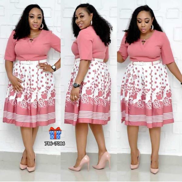 Vêtements africains imprimé floral bazin élastique robe dashiki mode féminine plus la taille des fleurs roses imprimer robe d'été avec ceinture