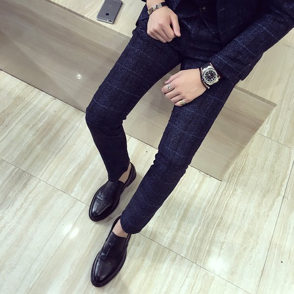 Plus Size Formal Pants for Men Autumn Winter New Plaid Men Dress Pants Slim Fit Casual Suit Hot Sale Trousers Office