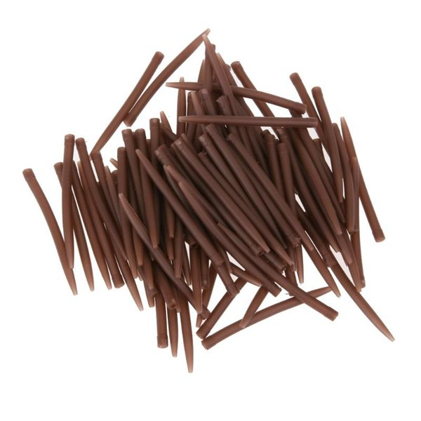 20/50/100pcs/ lot 53mm Anti Sleeves Terminal Carp Fishing Anti Sleeves Connect With Fishing Hook Brown Fish Tool Accessories Z95