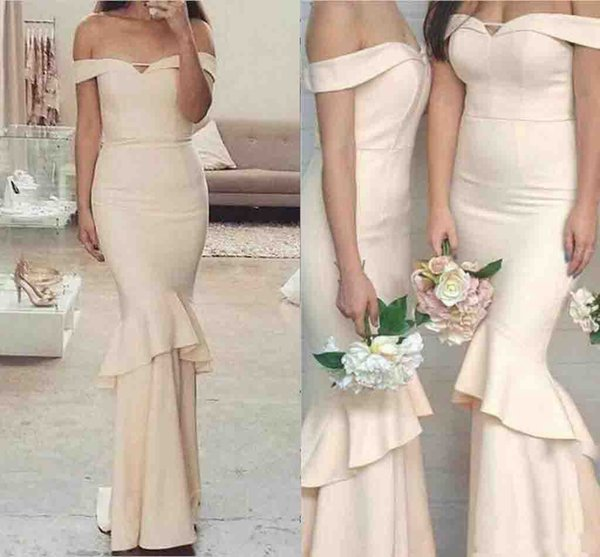 Cream 2019 New Long Mermaid Bridesmaid Dresses Simple Off Shoulder Cheap Ruffles Backless Wedding Guest Gowns for Evening Party Gowns