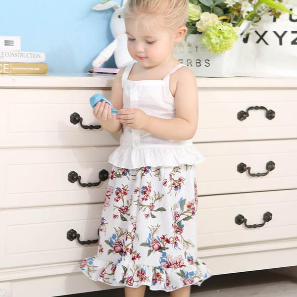 Conjuntos de falda de niña pequeña Vestido de diseñador para niños Vestido sin mangas de impresión Abrigo largo Vestido largo de dos piezas 49