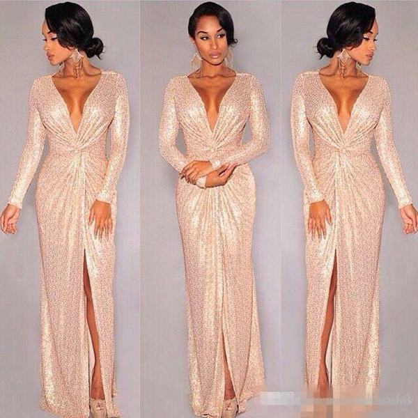 Custom Rose Gold Sequins Long Sleeve Formal Evening Dresses 2019 Deep V neck Slit Prom Dresses Sparky Sexy full length Special Occasion Gown
