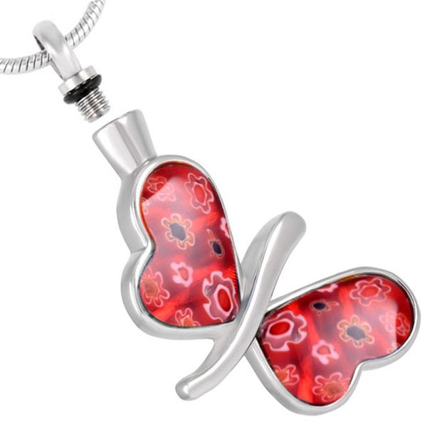 Crystal Red Butterfly Stainless Steel Cremation Jewelry Pendant Urn Necklace Memorial for Ashes Keepsake Jewelry IJD8492