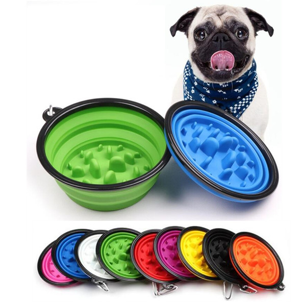 Collapsible Pet Dog Cat Feeding Bowl Slow Food Bowl Water Dish Feeder Silicone Foldable Choke Bowls For Outdoor Travel 9 Colors To Choose