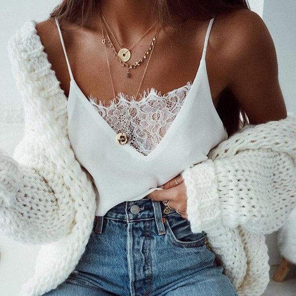 Black White Lace Thin Camis Women Slip Tank Tops Female 2019 Summer Sexy Strap Tops Chiffon Sleeveless See Through Camisole