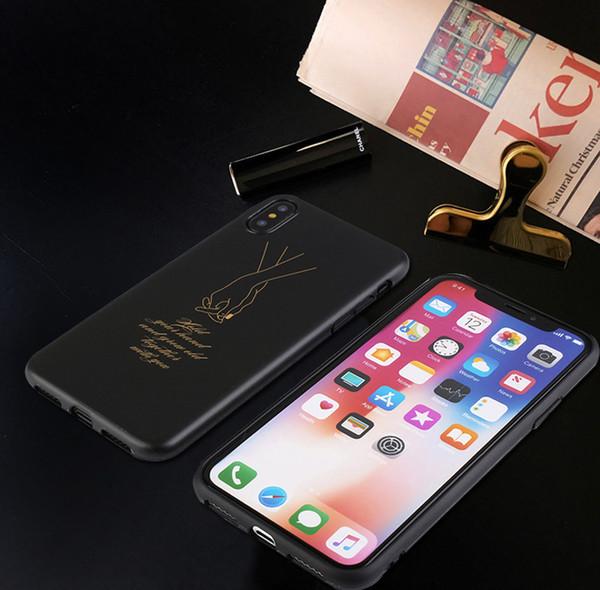 Amantes Phone Case para IphoneXSMAX IphoneXR XS 7/8 Mais 7/8 6/6 pçs 6/6 s S com a Mão Na Mão Linda Imagem Simplicidade Estilo Telefone case