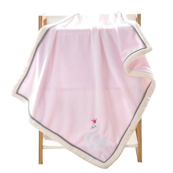Home Casual Cartoon Solid Thick Velvet Infant, Children Blanket Baby Unisex Flannel Rectangle Blanket