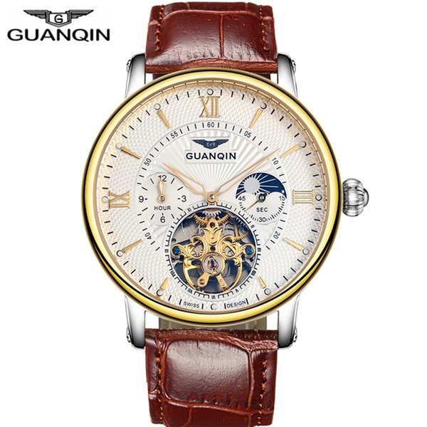 GUANQIN Skeleton Tourbillon Mens Watches Top Brand Luxury Automatic Mechanical Wristwatches waterproof 16036 Relogio Masculino C19010401