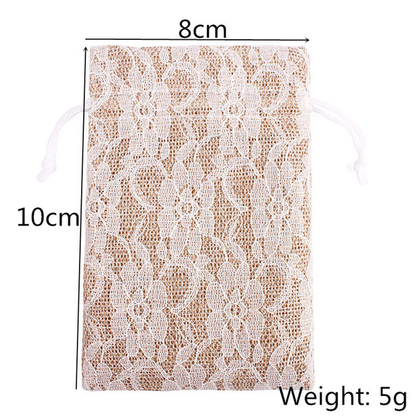 8x10cm Natural Jute Gift Bags Burlap Rustic Drawstring Jewelry Pouches Wedding Christmas Packaging Bag Lace Decor Candy Holder