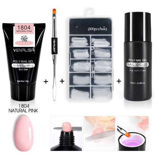 Poly Gel Kits Nail Art French Nail Art Clear Camouflage Color Tip Form Crystal UV Gel Polygel Slice Brush