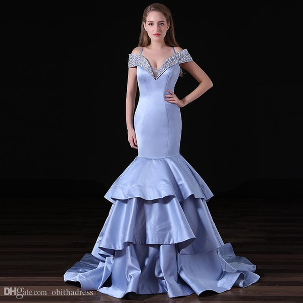 Hot Sexy Blue Mermaid Prom Dress Pasta Word Shoulder Sequins Seam Pendant Illusion Lotus Leaf Zipper Arab Evening Dress Beauty Pageant