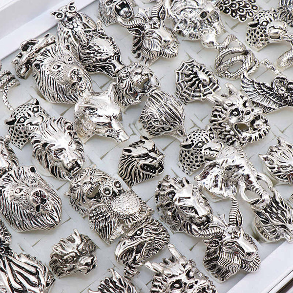 best selling Gothic Punk Ring Men Retro Dragon Snake Tiger Wolf Owl Peacock leopard Mix Style Unisex Animal Ring Jewelry