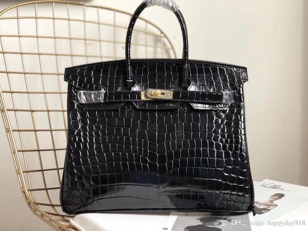 Бесплатная доставка модельер женская сумка повседневная черный Крокодил лакированная кожа телячья кожа сумка сумки золото оборудование 35 см
