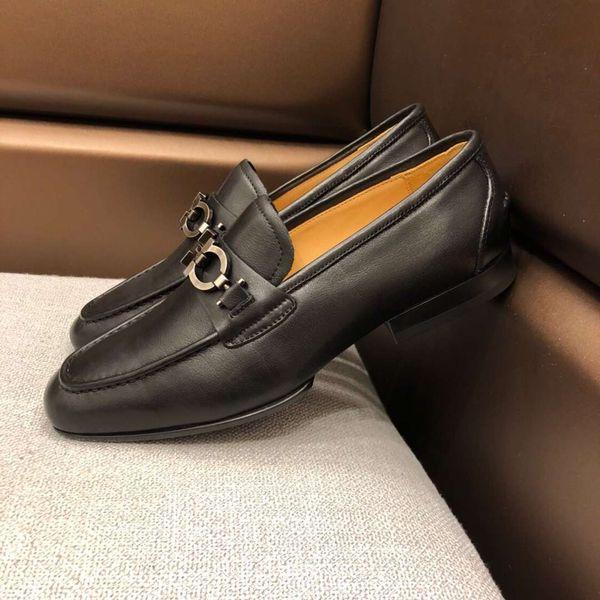 Marke Luxus Männer Kuh Leder Kleid Hochzeit Schuh Mokassins Mode formale Anzug Business Schuh Low Top Schnalle Horsebit Slipper Oxfords, 38-44