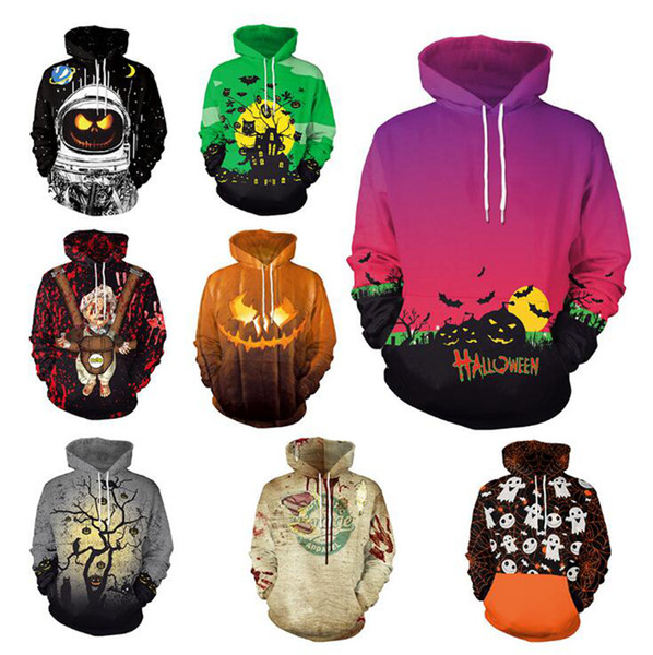 top popular Halloween Hoodies 11 Styles 3D Printed Men Women Sweatshirts Casual Coat Long Sleeve Loose Pullover Tracksuits 6pcs LJJO7142 2019