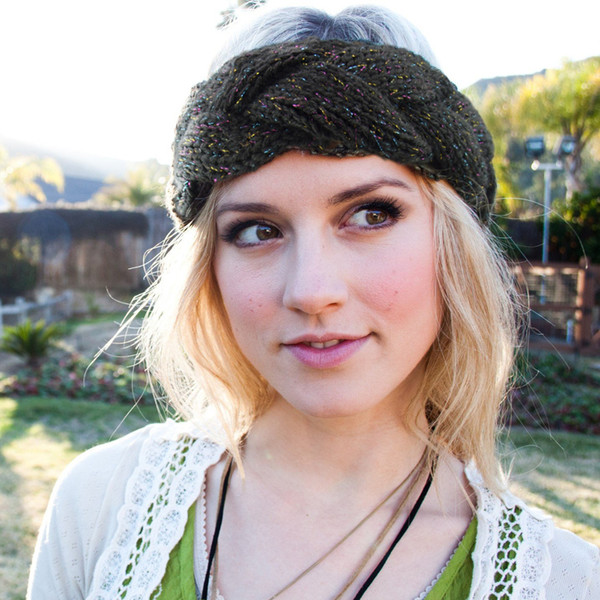 Mädchen Weiche Strick Twist Stirnband Weibliche Wolle Winter Warme Turban Crochet Head Wrap für Frauen Haarschmuck Stretch Kopfschmuck