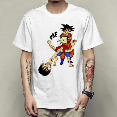 Paf t shirt Son Goku vs Monkey D Luffy manches courtes Dragon Ball t-shirts Vêtements de loisirs T-shirt en coton élastique