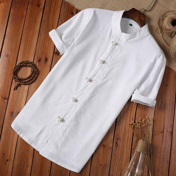 Camicia estiva Camicia da uomo a maniche corte in lino e cotone Bottone stile cinese Camicia vintage da uomo bianca Camisa Masculina