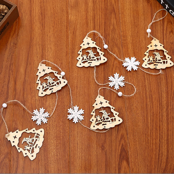Christmas Tree Hanging Wooden Ornament Decoration Pendant New Year Banner For Deer Santa Snowman Garlands Party Decoration