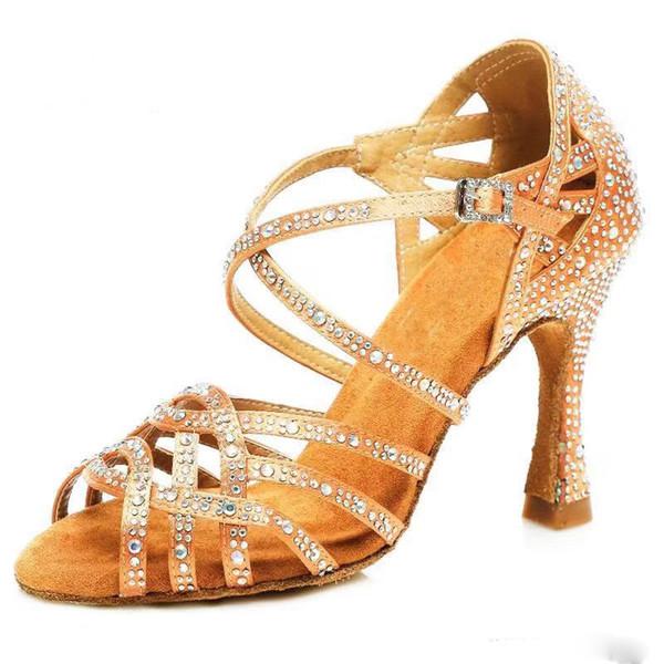 Kadın tango Caz Balo dans ayakkabıları kadınlar için Samisoler Glitter Rhinestone Latin Dans Ayakkabıları Kadınlar Saten Salsa Dans Ayakkabıları