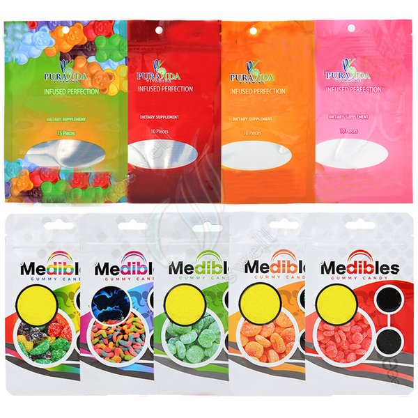best selling Medibles Gummy Candy Mylar Bag Pura Gummies Plastic Top Zipper Airtight Smell Proof Edibles Retail Packaging Package Bags Customized Welcome