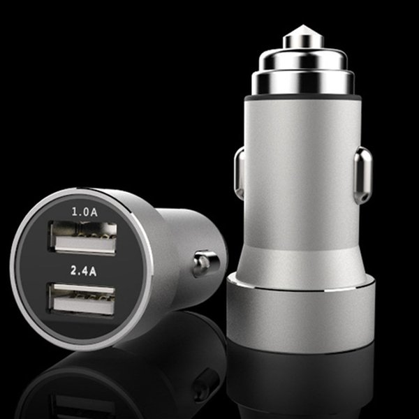 1A/2.4A Metal Dual USB Car Charger Mini Cellphone Fast Charging Device with Blue LED Light Adapter Accessories