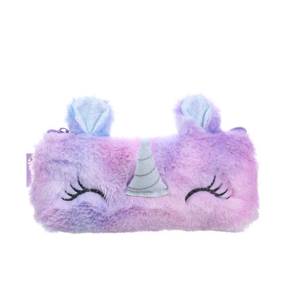 Creative Kawaii Cartoon Plush Unicorn Pencil Bag Cute Embroidered Bag Key Earphone Organizer Pouch Kids Gift Plush Coin Purse