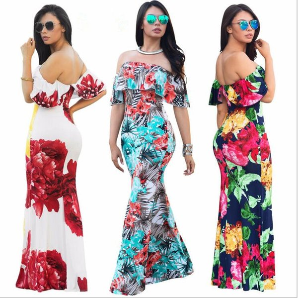 Compre Verano Maxi Floral Vestidos Estampados Mujeres Vestidos Largos Fuera Del Hombro Vestidos De Playa Body De Manga Larga Ajustada Día De Fiesta A
