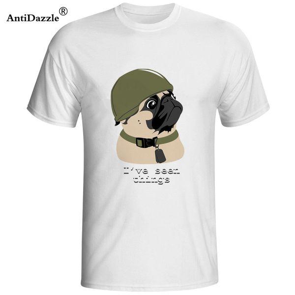 Неослепляющее лето Смешные Симпатичные Мопс из войны с коротким рукавом Футболка мужская O-образным вырезом дизайн животных Популярные Тис Топы футболки