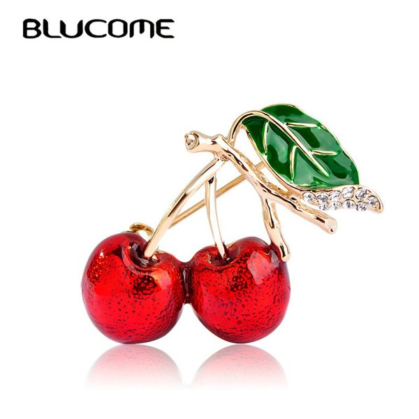 Blucome Red Enamel Brooches For Women Kids Cherry Brooch Corsage Small Bouquet Hijab Pins Feminino Party Bag Dress Accessories