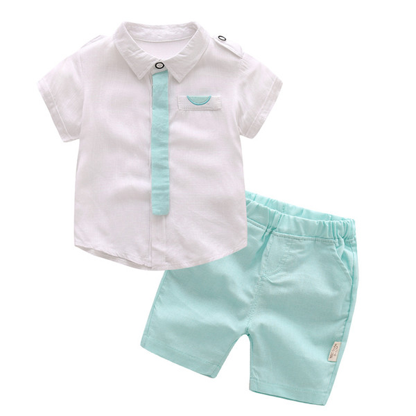 Baby Boys Clothing Set For Summer Children Short Sleeves White And Green Suit Boy 2 Piece Set Infant Kids Dress Clothes J190712
