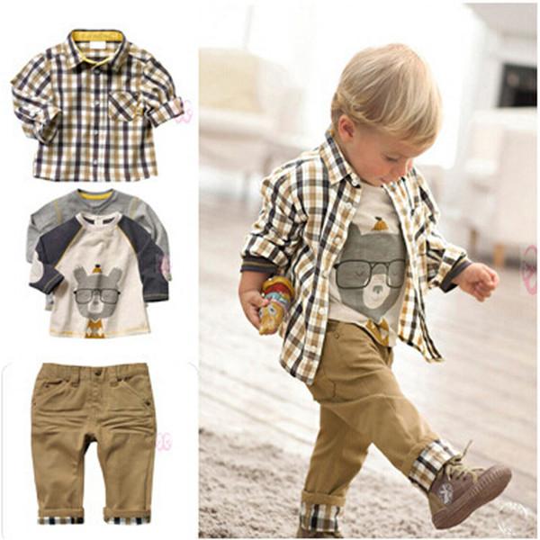 Acthink Nuevo diseño Baby Boys Estilo europeo 3pcs Conjunto de ropa Marca Boy Plaid Cartoon Trajes de camiseta con jeans suaves sueltos, C018 MX190803