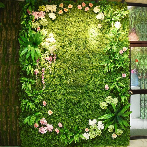 40*60cm more type Popular green plant wall Home Decor Green Plant Artificial Flower Plastic Garland artificial flowers wall