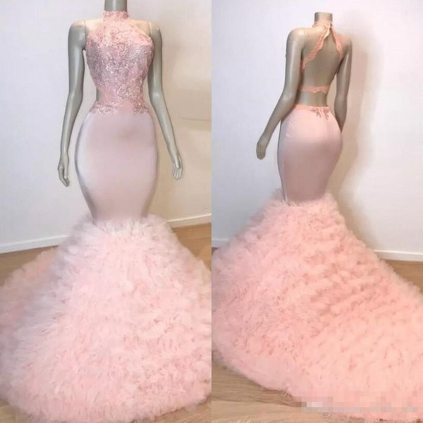 Blush Pink Halter Mermaid Prom Dresses Ruffles Tiered Tulle Lace Applique Mermaid Evening Gowns Cutaway Sides Backless Cocktail Dress