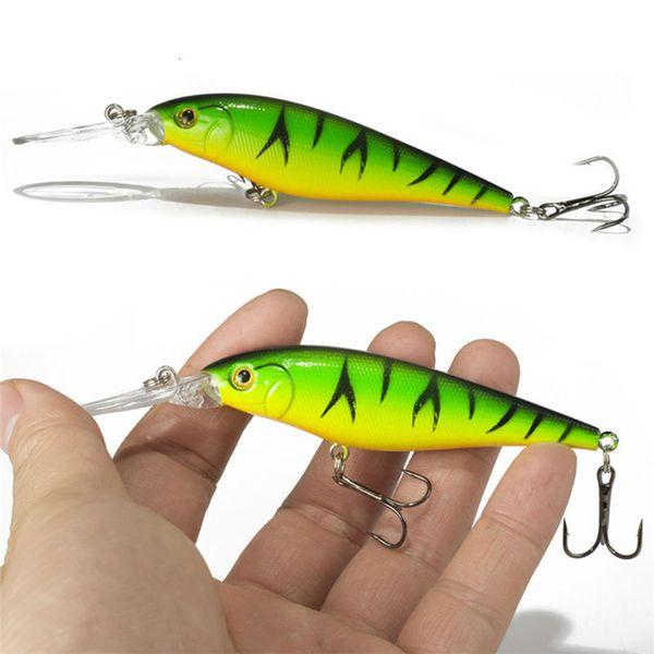 1pcs Colorful Stripe Pattern 11cm 10.5g Hard Bait Minnow Streak Fishing Lures Basscook Diving Perch Wobbler Fish