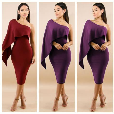 Wholesale 2018 Sexy Oblique Shoulder Casual Dresses New Style Straight Cotton Fabric Women Clothes Middle Waist Pencil Designer Dress