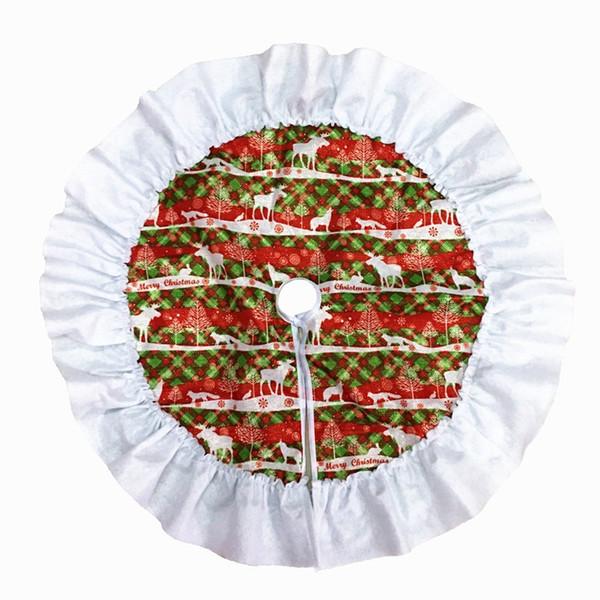 Modelo de la Navidad Verde Rojo Árbol de Navidad falda ciervos alfombras Árboles de Año Nuevo Decoración de Navidad Home Party Supplies 60 cm Diámetro