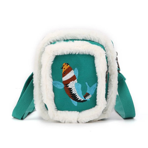 good quality Handbag Women Cute Cartoon Lucky Fish Embroidered Women Shoulder Flap Bags Casual Canvas Crossbody Messenger Bag