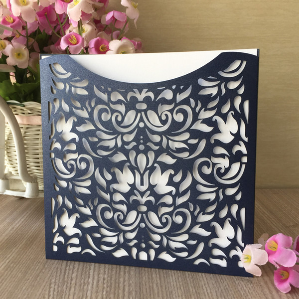 35PCS /lot Chinese Traditional Hollow Laser Cut Wedding Invitation Cards With Pearl Paper Engagement Invitation Supplies Decoration Lace