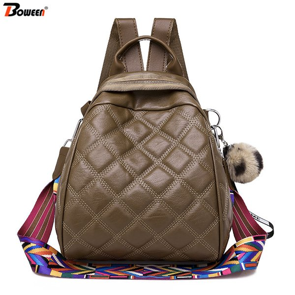 Lingge Casual backpack women leather Brown black Color wide strap shoulder bags vintage back pack female Cute hair ball pendant