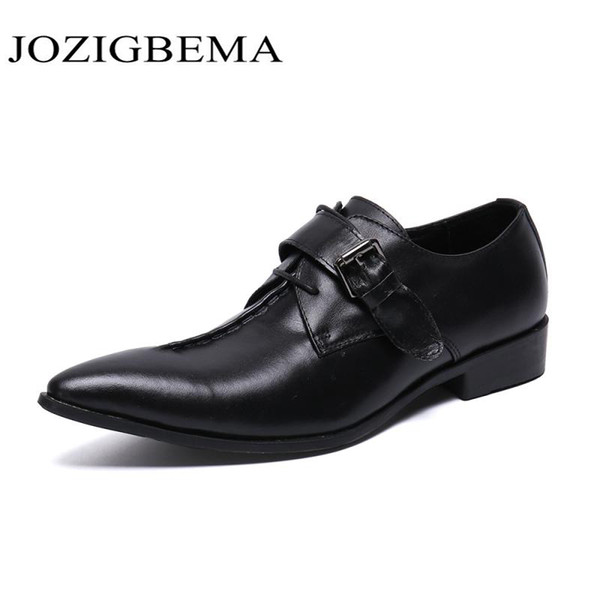 Genuine Leather Wedding Shoes Business Mens Casual Flats Shoes Vintage Oxford For Men Black Leather