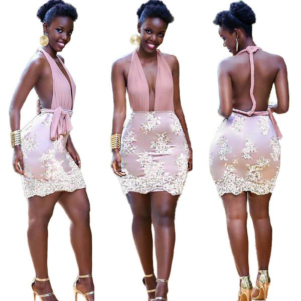Créateur de mode sexy col en v profond dentelle mini robes sans manches robe élégante été chaud sexy jupes skinny dames robes de club