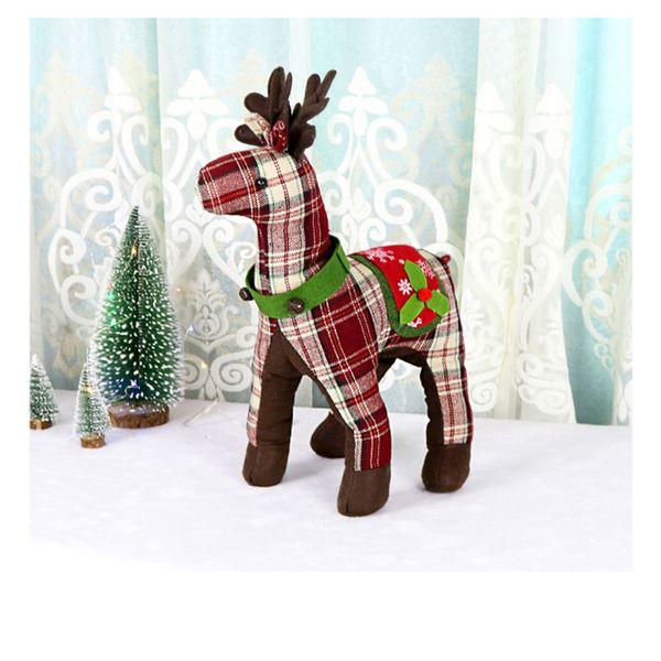 Nueva simulación de escocés Reno de peluche de juguete Elk Deer Doll Doll Decoración Adorno de regalo de Navidad