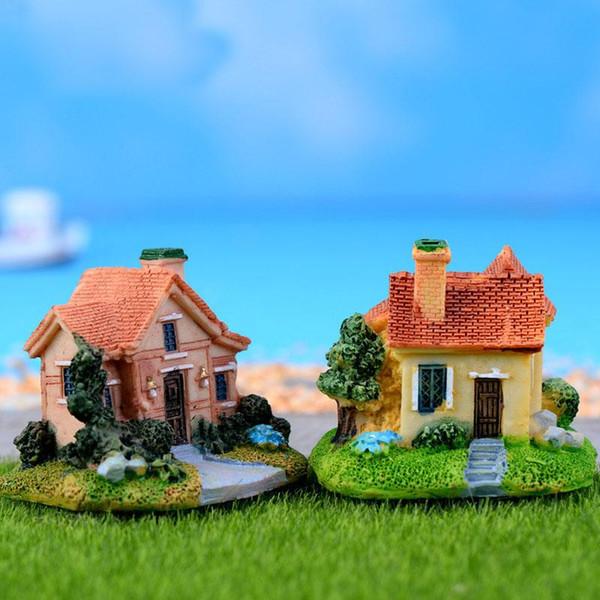 Miniatura Jardim Decoração Fada Estatuetas Mini Castelo de Fadas Jardim Miniaturas Villa Estatueta Castelos Terrário Estatuetas