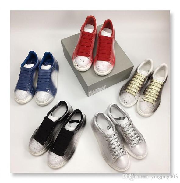 2019 Ucuz ACE Siyah beyaz kırmızı Lüks Moda Tasarımcısı Kadın Ayakkabı Altın Düşük Kesim Deri Düz tasarımcılar erkekler bayan Casual sneakers xsd180929