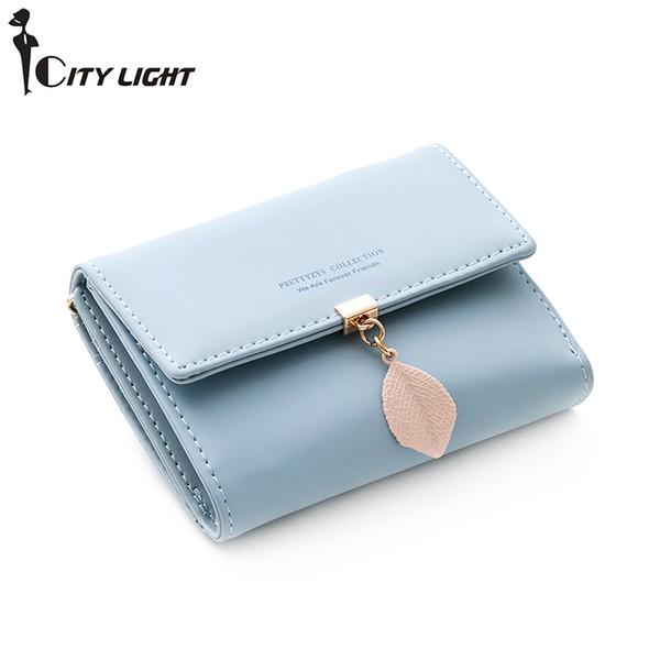 Nuevas mujeres PU cuero hoja billetera corta monedero femenino monedero moda bolsa de dinero titulares de tarjetas vintage para mujer carteras pequeñas
