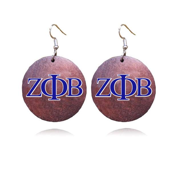 ZPB lettre grecque sororité africaine naturel en bois ZETA PHI BETA boucles d'oreilles